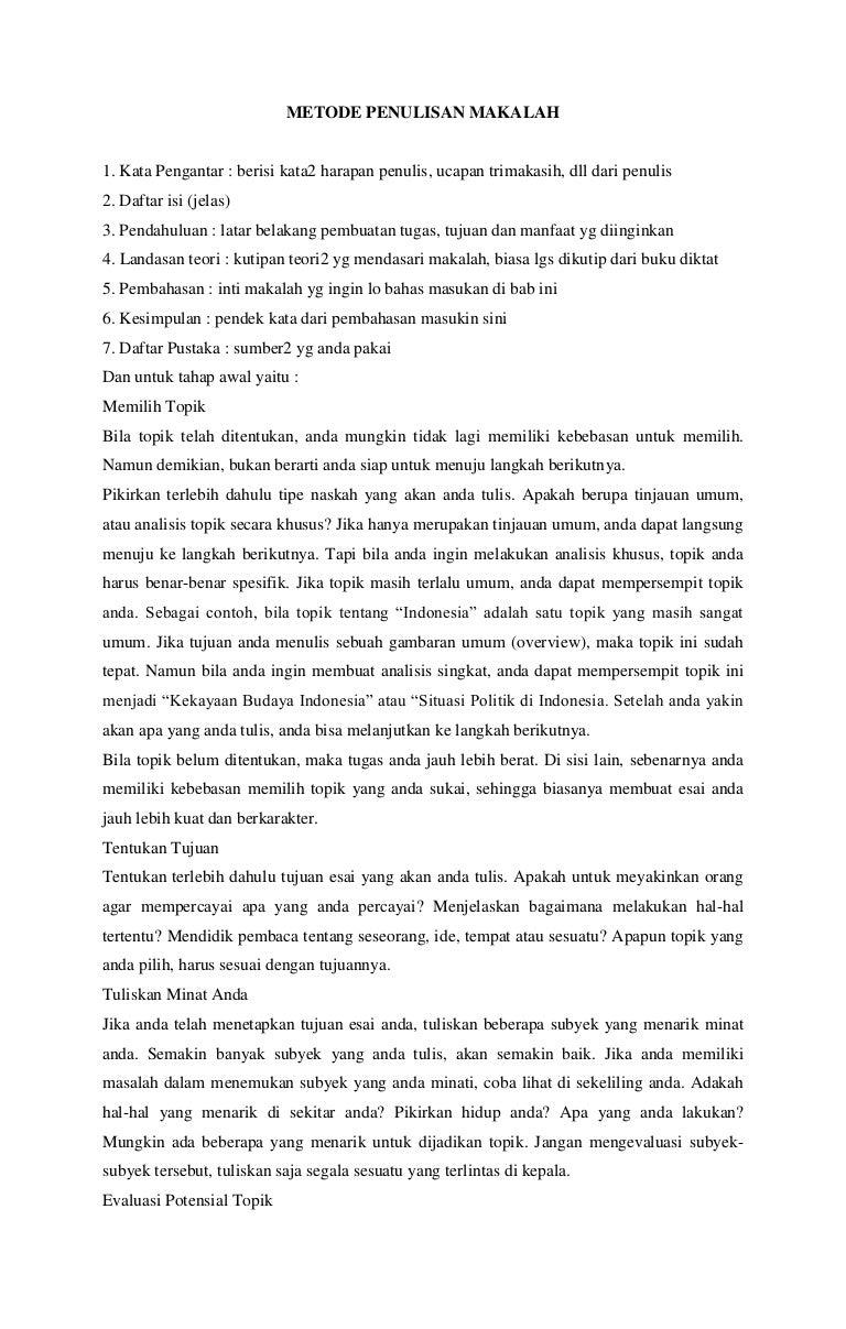 Metode Penulisan Makalah