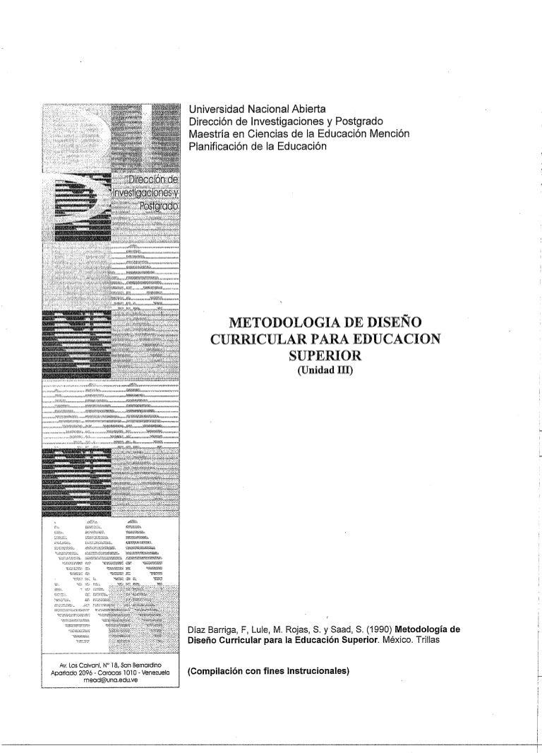 Metodologia de diseño curricular