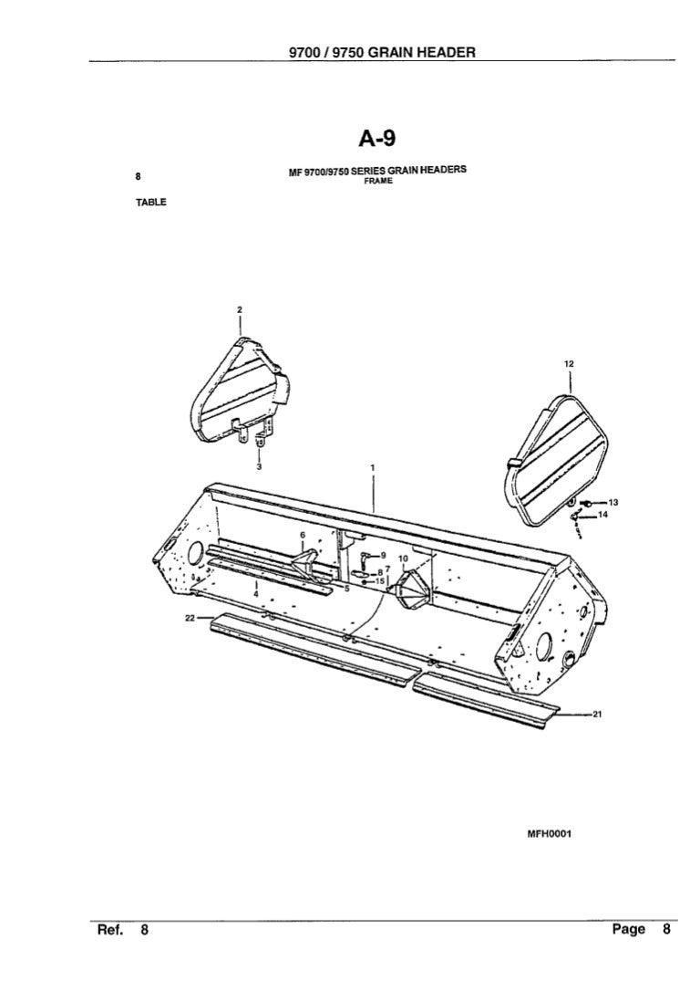 Massey Fergusson 9700, 9750 grain header parts catalog