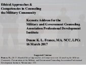 Ethical Approaches & Competencies in Counseling the Military Community