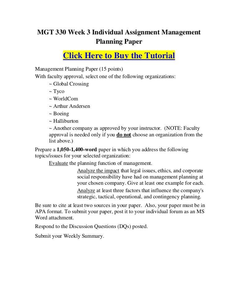 Management planning paper