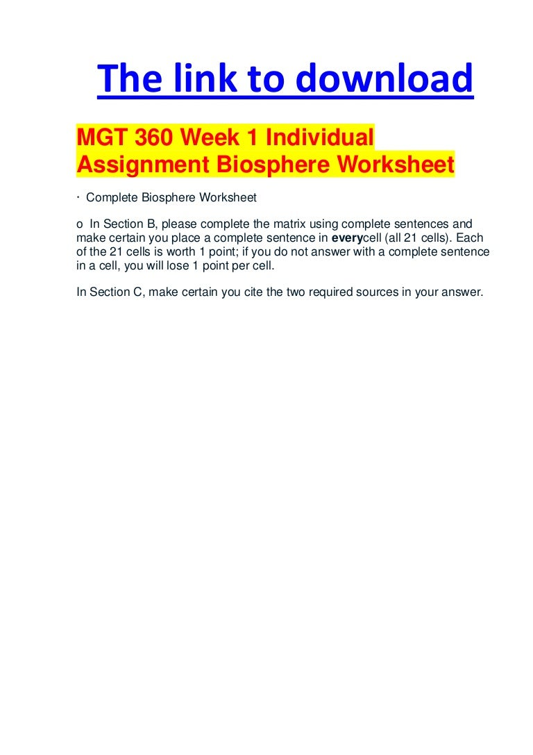 Mgt 360 week 1 individual assignment biosphere worksheet – Biosphere Worksheet