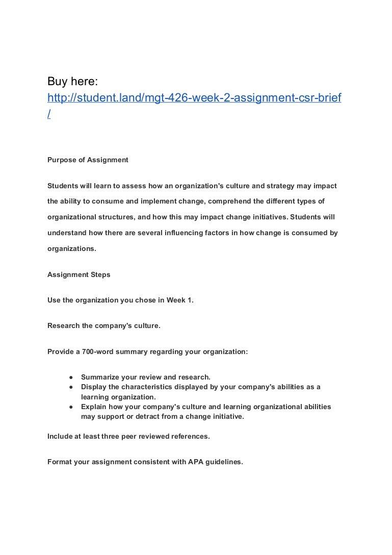mgt week assignment csr brief