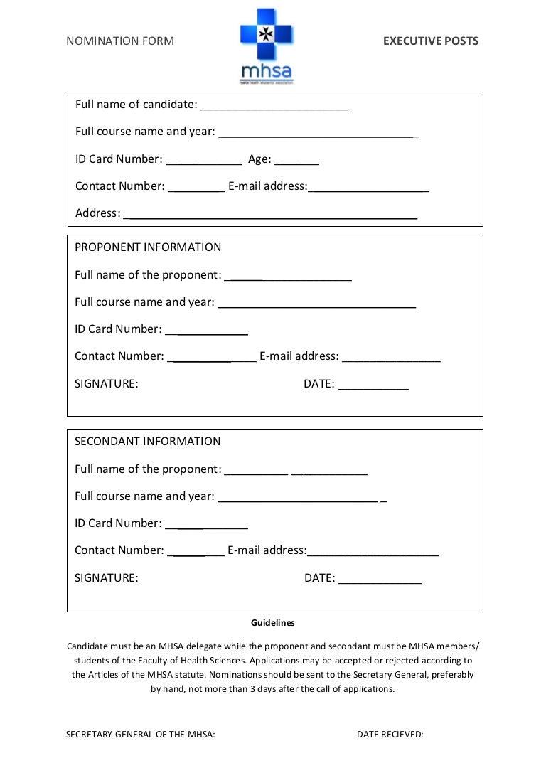 MHSA nomination form (EB elections)