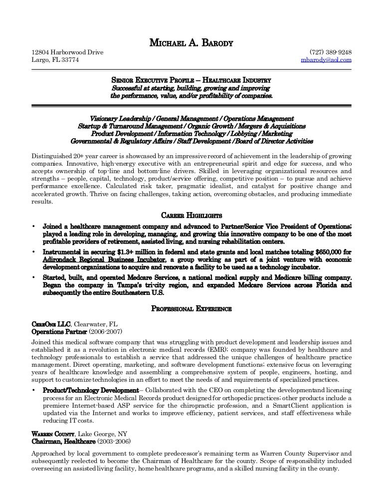 michael barody resume - Medical Records Resume