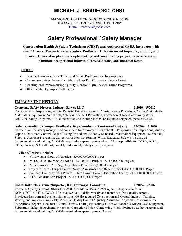 Michael bradford, CHST, AHSM Safety Professional Resume