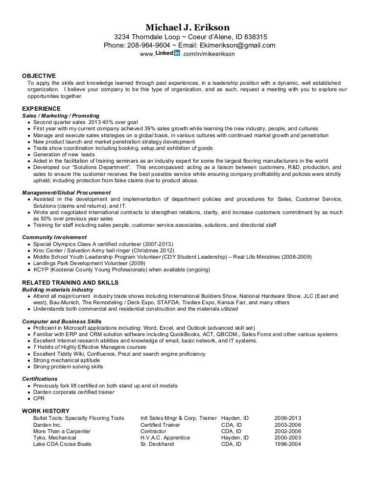 resume for mike j erikson international sales distribution exper