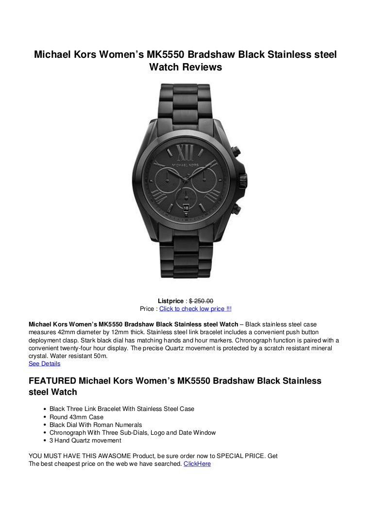 8f565ae4ed8d Michael kors womens mk5550 bradshaw black stainless steel watch reviews
