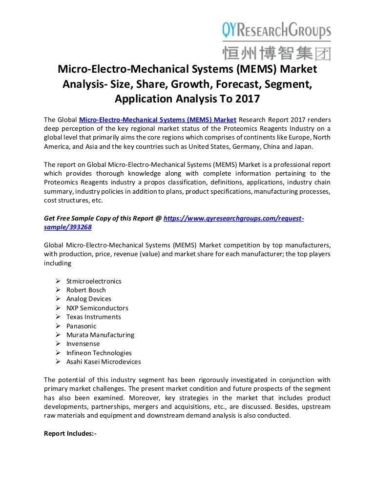 Micro-Electro-Mechanical Systems (Mems) Market Analysis- Size, Share,…