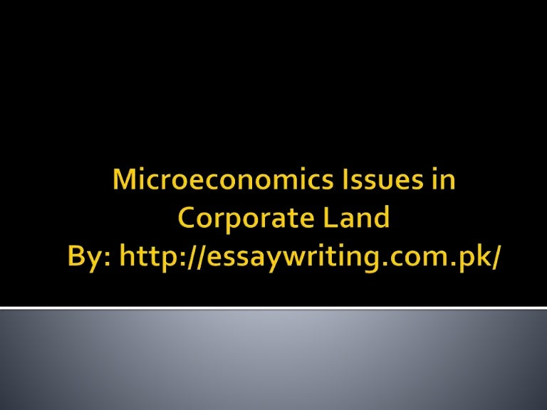 microeconomics issues in corporate land