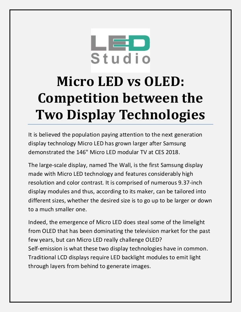 Micro led vs oled competition between the two display