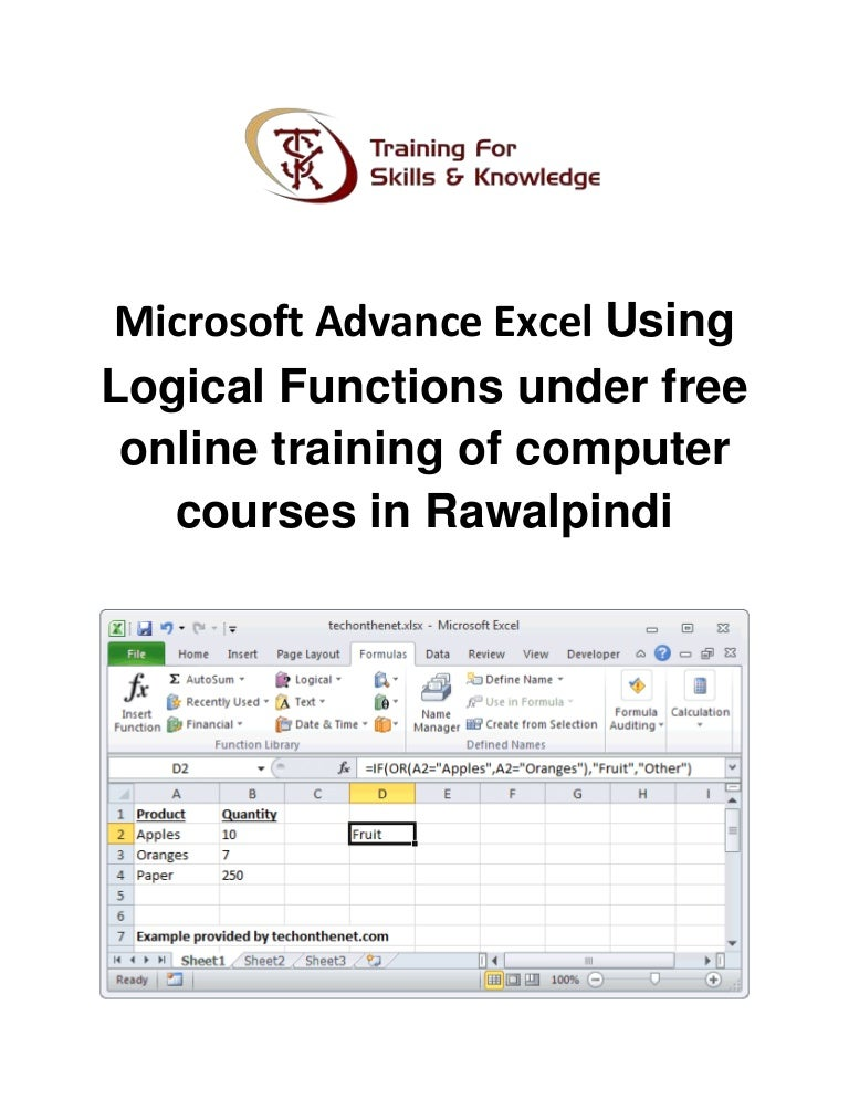 Microsoft advance excel using logical functions under free