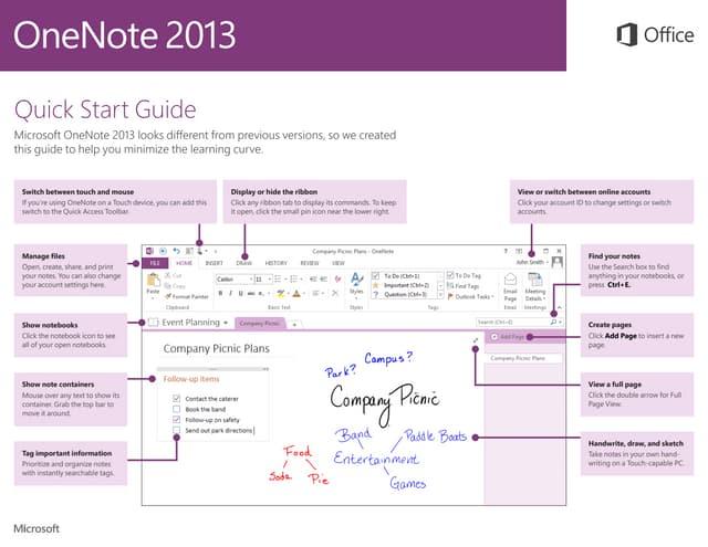 Microsoft OneNote 2013 Quickstart