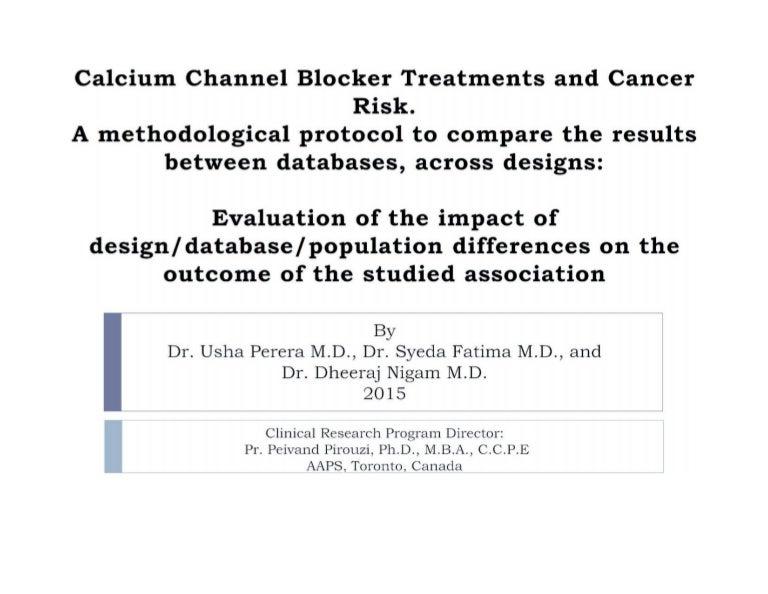 Pr. Peivand Pirouzi - Calcium channel blocker treatments and cancer r…
