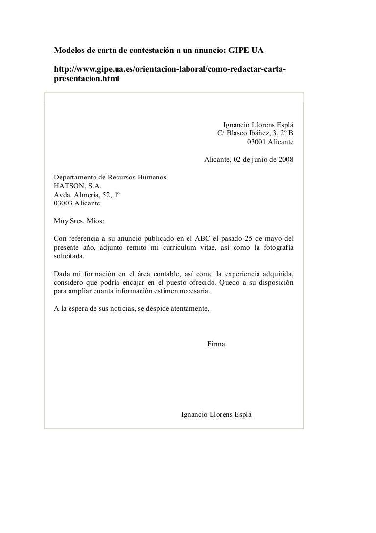 Modelos de carta de contestación a un anuncio de trabajo (candidatura…