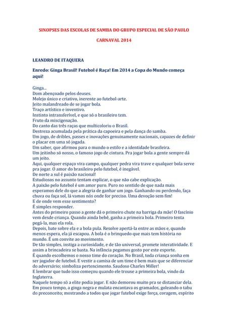 Sinopses das escolas de samba do grupo especial de são paulo