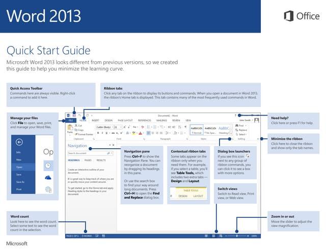 Microsoft Word 2013 Quickstart