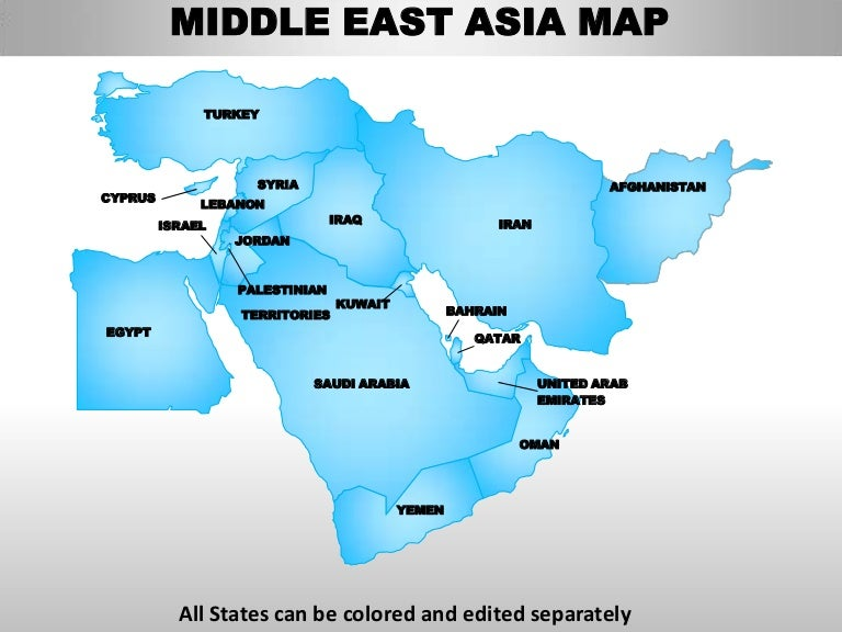 Middle East Asia Editable Continent Map With Countries - What continent is afghanistan in