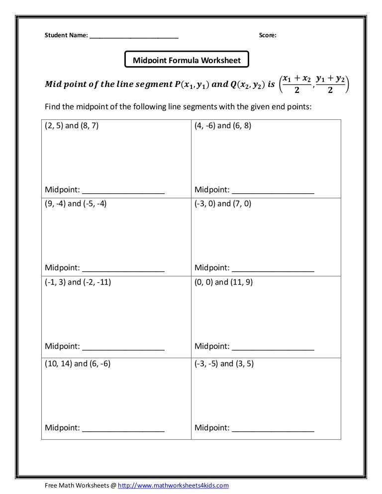 Midpoint formula – Midpoint and Distance Formula Worksheet