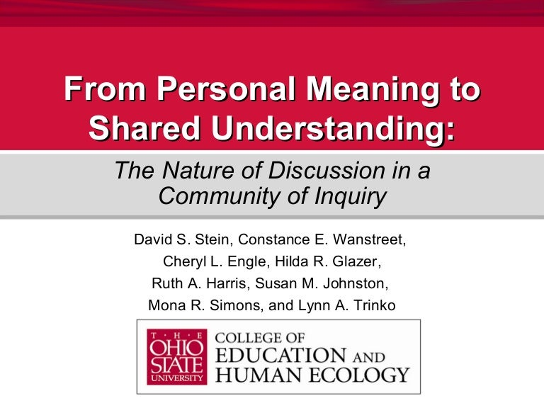 From Personal Meaning to Shared Understanding: The Nature of Discussi…