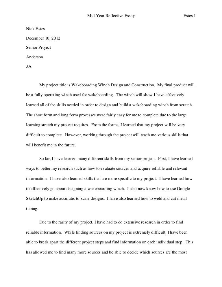 Help on reflective essay thesis