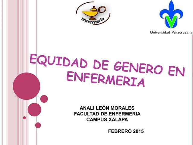 EQUIDAD DE GENERO EN ENFERMERIA