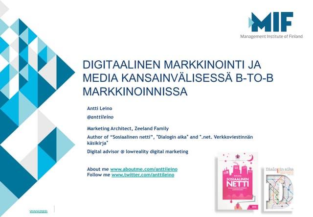 Digitaalinen media ja viestintä kansainvälisessä markkinoinnissa