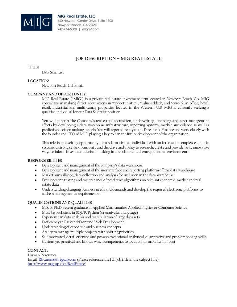 mig real estate data scientist job description