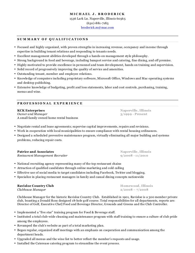 Michael Broderick resume