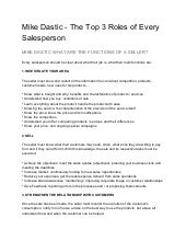 Mike dastic   the top 3 roles of every salesperson