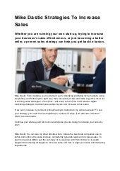 Mike dastic strategies to increase sales