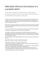 Mike dastic what are the functions of a successful seller?