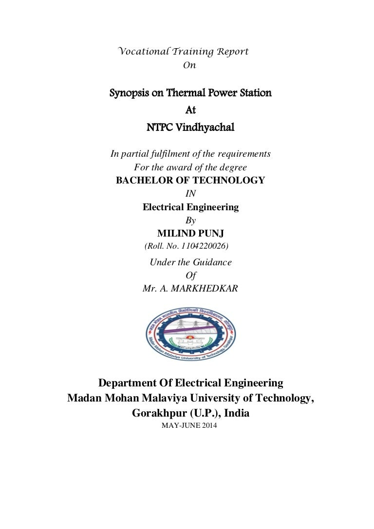 Vocational Training Report Ntpc Vindhyachal Electrical Gt Troubleshooting Circuits