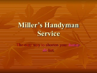 Miller's Handyman Service