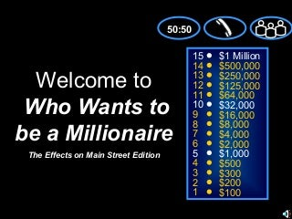 Who Wants to be A Millionaire: The Effects on Main Street Edition