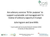 Are advisory services 'fit for purpose' to support sustainable soil management?
