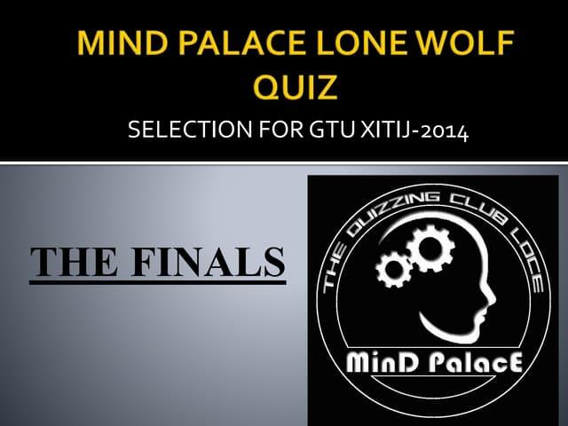 Mind Palace Lone Wolf Quiz Finals