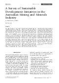 A Survey of Sustainable Development Initiatives in the Australian Mining and Minerals Industry