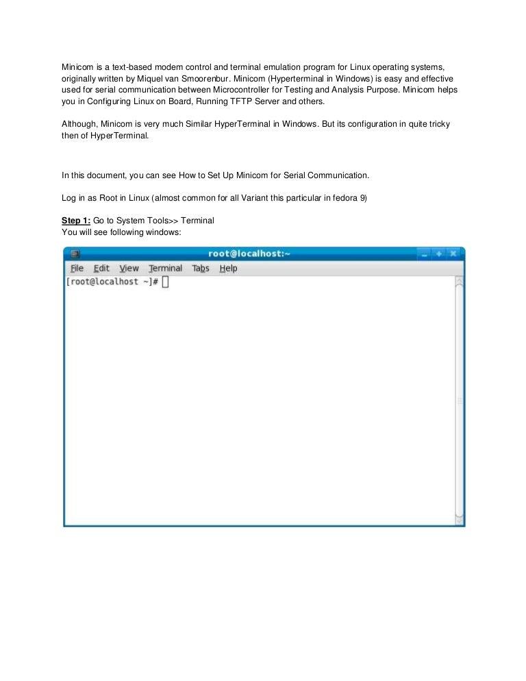 Minicom linux hyperterminal
