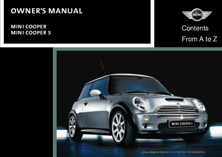 mini cooper owners manual 2002 rh slideshare net Mini Cooper Bonnet Mini Cooper Service