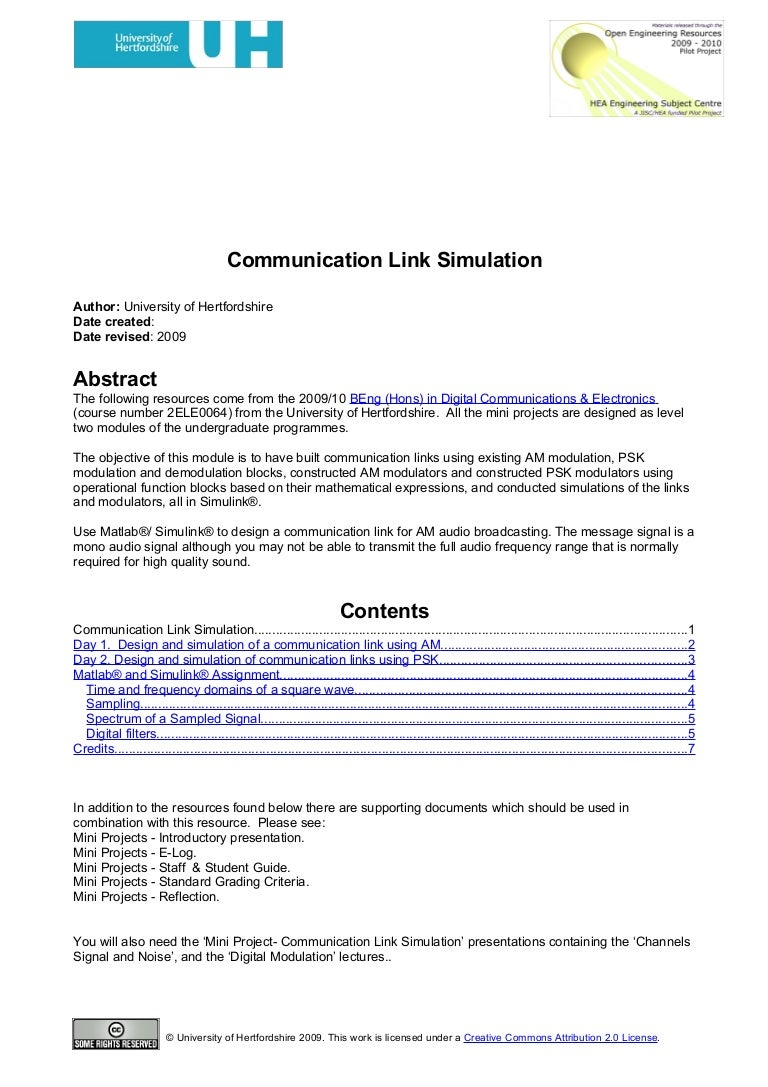 Mini Project Communications Link Simulation To Electronics Projects Circuits