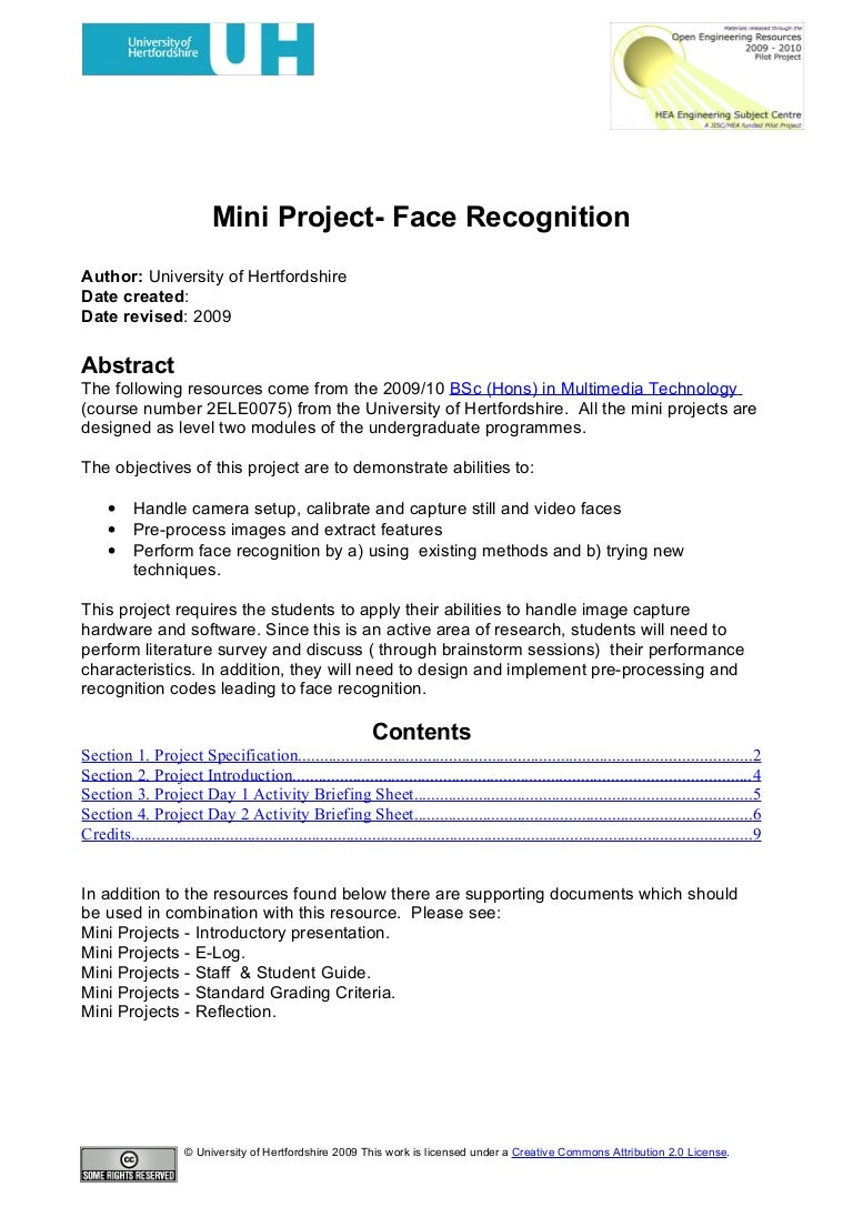 Mini Project Face Recognition Electronics Engineering Projects Ides For Students With