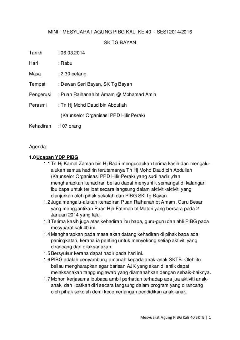 Minit Mesyuarat Agung Pibg Kali Ke 40sktbyn