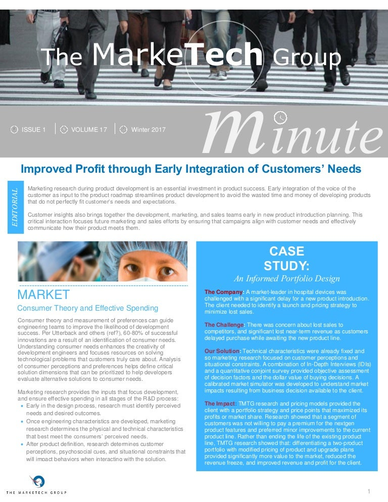 Minute Improved Profit Through Early Integration Of Customers Needs