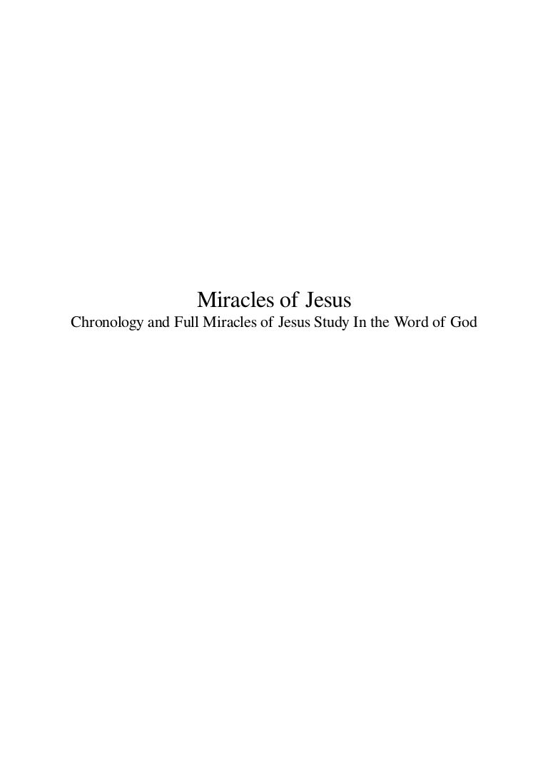 miracles of jesus chronology and full miracles of jesus study in the u2026