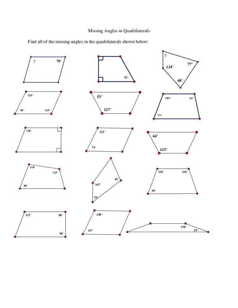 Quadrilateral Angles Worksheet jannatulduniya – Quadrilateral Worksheets