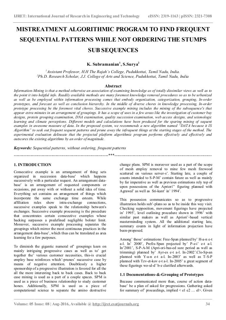 Mistreatment algorithmic program to find frequent sequential patterns…