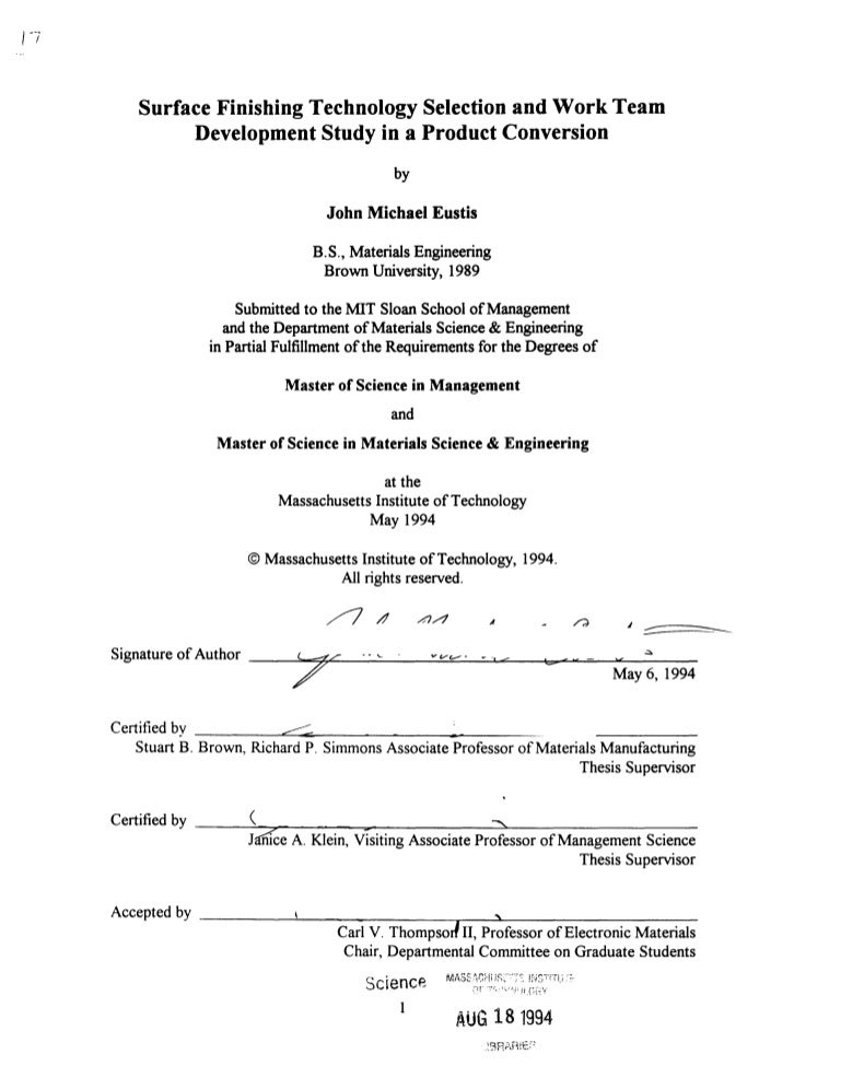 Mit masters thesis