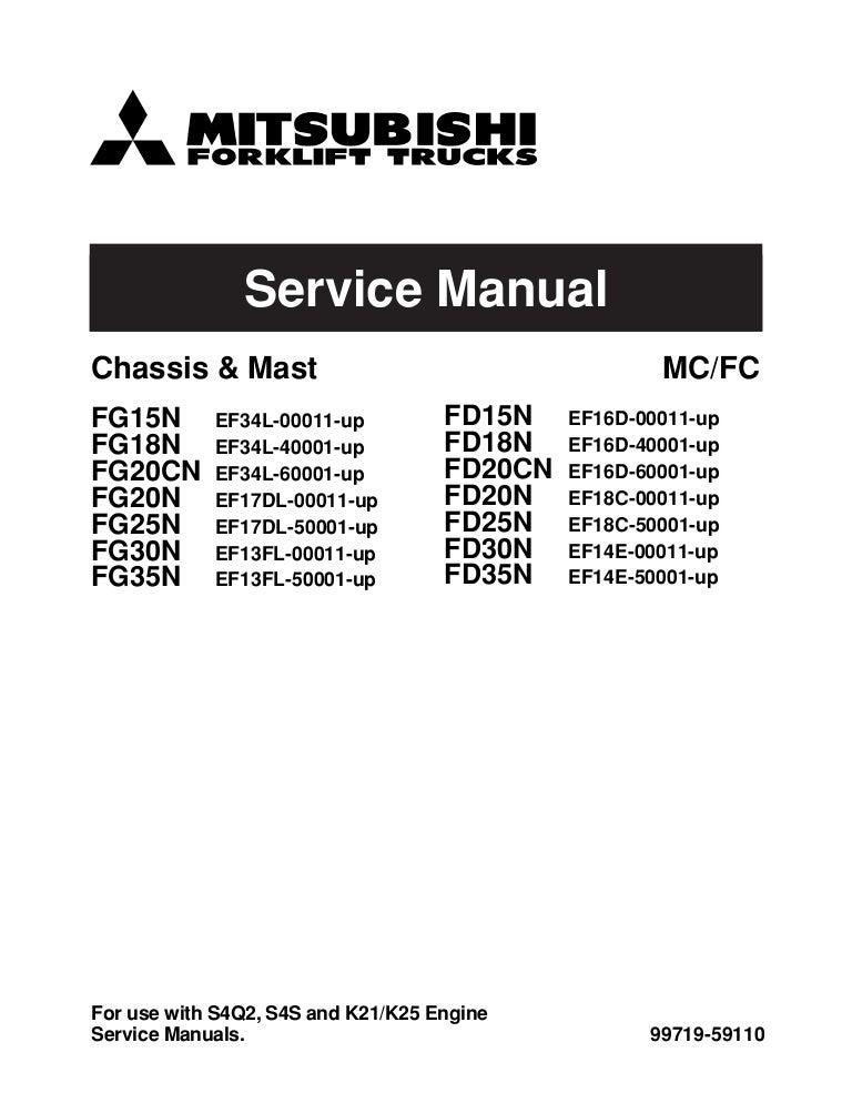 Mitsubishi fg15 n forklift trucks service repair manual sn ... on