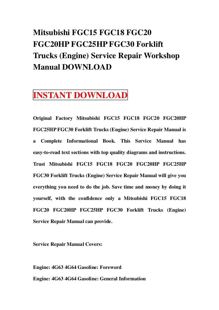 Mitsubishi Fgc15 Fgc18 Fgc20 Hp Fgc25hp Fgc30 Forklift Trucks 4g63 Engine Diagram